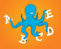 Multitasking octopus holding different letters Royalty Free Stock Images