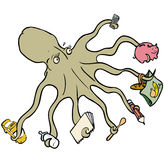 Multitasking octopus. An octopus multitasking performing an array many tasks at once Royalty Free Stock Images