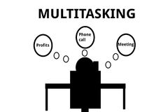 Multitasking Person in an Office Royalty Free Stock Image