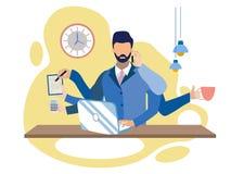 Multitasking przy pracy metafory wektoru ilustracją ilustracja wektor