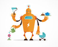 Multitasking robot character. Multitasking robot with baby, working, coocking, cleaning and gardening Royalty Free Stock Photography