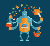 Multitasking robot chef baking and cooking Royalty Free Stock Image