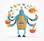 Multitasking robot chef baking and cooking. Multitasking robot chef working, coocking and baking stock illustration