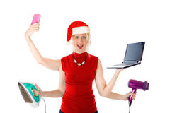 Multitasking Santa Claus stock photos