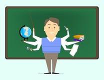 Multitasking is a school teacher, the teacher on various subject Stock Photos
