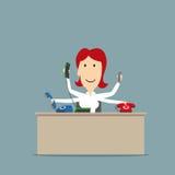 Multitasking secretaresse die op verscheidene telefoons spreken royalty-vrije illustratie