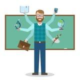 Multitasking skillful teacher. Stock Photos