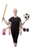 Multitasking sports woman Stock Images