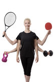 Multitasking sports woman Royalty Free Stock Photo