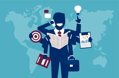 Multitasking successful businessman managing everything. Vector illustration of businessman with plenty of hands managing to complete all goals Royalty Free Stock Photo