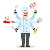 Multitasking szef kuchni z sześć rękami Zdjęcie Royalty Free