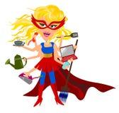 Multitasking vrouw stock afbeelding