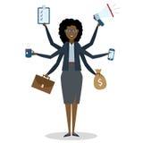 Multitasking vrouw die zich op wit bevinden Stock Afbeeldingen
