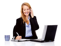 Multitasking woman Stock Images