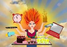 Multitasking woman Royalty Free Stock Images