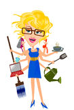 Multitasking Woman Royalty Free Stock Photos