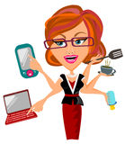 Multitasking Woman. Woman busy activities concept vector illustration isolated Royalty Free Stock Images