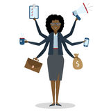 Multitasking woman standing on white. Stock Images