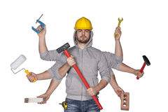 Multitasking worker with plenty of tools Stock Photos