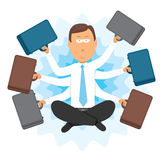 Multitasking zen businessman Royalty Free Stock Photos