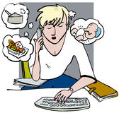 Multitaskingkvinna royaltyfri illustrationer
