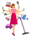 Multitaskingkvinna vektor illustrationer