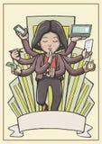 Multitaskingkvinna som mediterar och svävar med staden i bakgrund Royaltyfria Foton