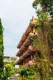 Multitiered-Äußeres eines chinesischen buddhistischen Tempels in Bangkok Stockbild