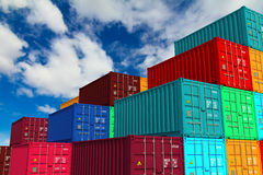 Multitiered of Colorful Containers on Sky Royalty Free Stock Photo