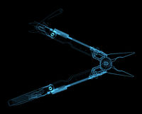 Multitool isolated on black. Multitool (3D xray blue transparent Royalty Free Stock Photography