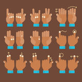 Multitouch gesture hands icons set. Flat design modern cartoon style multitouch gestures hands icons Stock Image