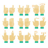 Multitouch gesture hands icons set. Flat design modern cartoon style multitouch gestures hands icons Royalty Free Stock Image