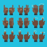 Multitouch gesture hands icons set. Flat design modern cartoon style multitouch gestures hands icons Stock Photos