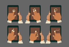 Multitouch gesture hands with tablet mockups. Flat design modern cartoon style multitouch gestures hands with tablets mockup Stock Photos