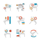 Multitouch gestures line icons set. Abstract icons of common used multitouch and touch screen gestures for digital tablets or smartphone. Unusual flat design Stock Image
