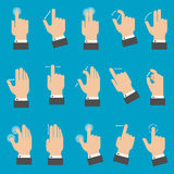 Multitouch gestures for tablet or smartphone. Set of hands with multitouch gestures for tablet or smartphone on blue background. Flat style stock illustration