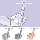 MultiTouch Hand Gestures For Smartphone, Tablet And Pad- Slide. Commonly Used Touch Screen Gestures for Smart Phones and Tablets Stock Images