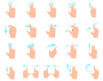 Multitouch screen hand gestures elements collection set. Multitouch screen hand gestures elements collection, flat icons set, Colorful symbols pack contains Stock Photo