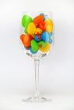 Multitud colorida del anadón en el vidrio aislado imagen de archivo libre de regalías