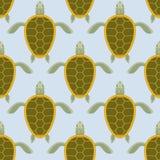 Multitud de las tortugas de mar Modelo inconsútil de la tortuga del agua Parte posterior del vector Imagenes de archivo