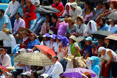 A multitude cover the sun with umbrellas Royalty Free Stock Photos