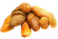 Multitude fresh bread on white background Stock Image