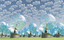Multitude of human head shaped bulbs under clouds Stock Photos