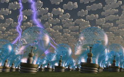 Multitude of human head shaped bulbs puzzle clouds Stock Photos