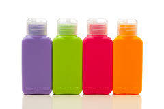 Multitude of plastic color bottles Stock Image