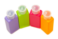 Multitude of plastic color bottles Stock Photography