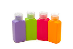 Multitude of plastic color bottles Stock Photo