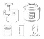 Multivarka, chłodziarka, maszynka do mięsa, benzynowa kuchenka Gospodarstwo domowe ustalone inkasowe ikony w konturu stylu symbol royalty ilustracja