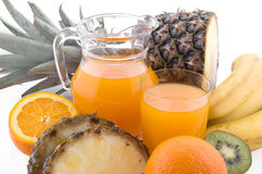Multivitamin juice and fruits Stock Photo