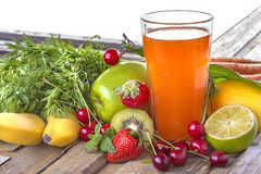 Multivitamin juice. A healthy multivitamin juice of various fruits and vegetables Royalty Free Stock Image